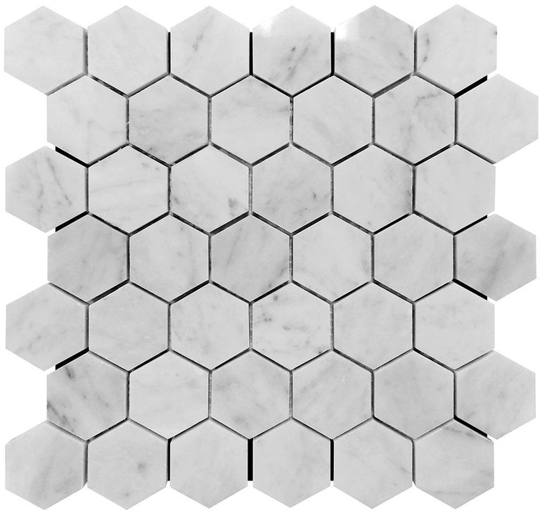 2 Inch White Carrara Hexagon Polished Marble Mosaic Tile position: 1