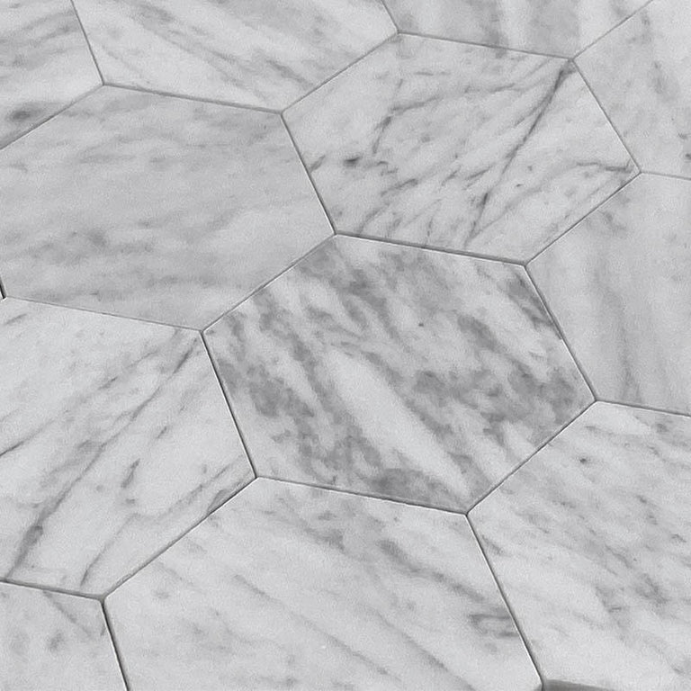 Interlocking Marble Hexagon Tile that is Easily Applied thanks to Peel and Stick