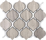 "10.2"" x 11.3"" Wooden Beige Arabesque Tile With Thassos Lines"