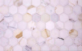 "11.8"" x 11.8"" 2"" Calacatta Gold Hexagon Tile"