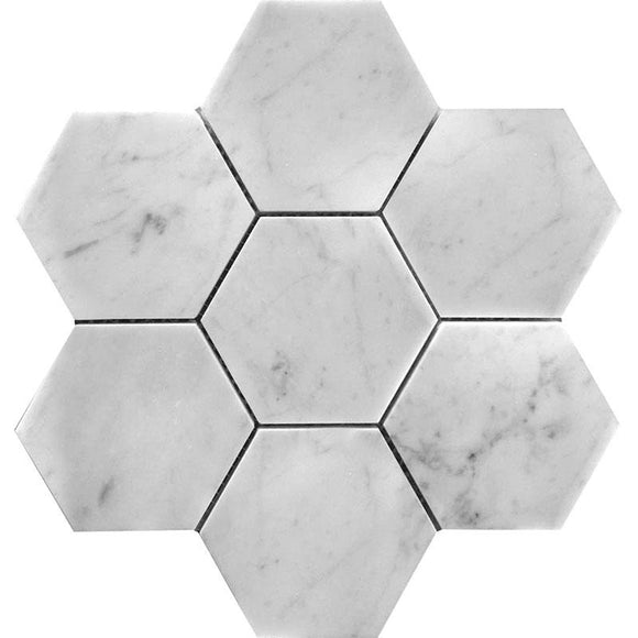 4 Inch White Carrara Hexagon Honed Marble Mosaic Tile position: 1