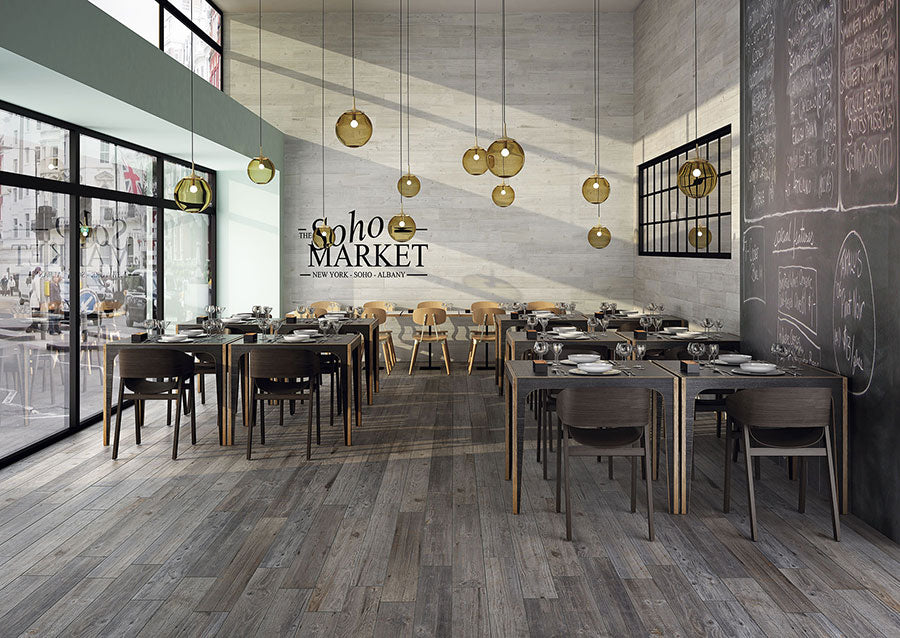 Rustic Industrial Restaurant Design with Vancouver Gris Porcelain Tile for a Hardwood Floor Look
