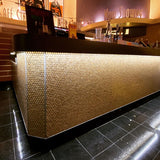 Gold Glass Penny Round Mosaic Tile Movie Theater Lobby Counter