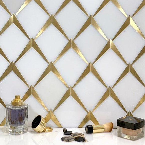 Arrowhead Brass Marble Mosaic Glam White Marble and Gold Vanity Bathroom