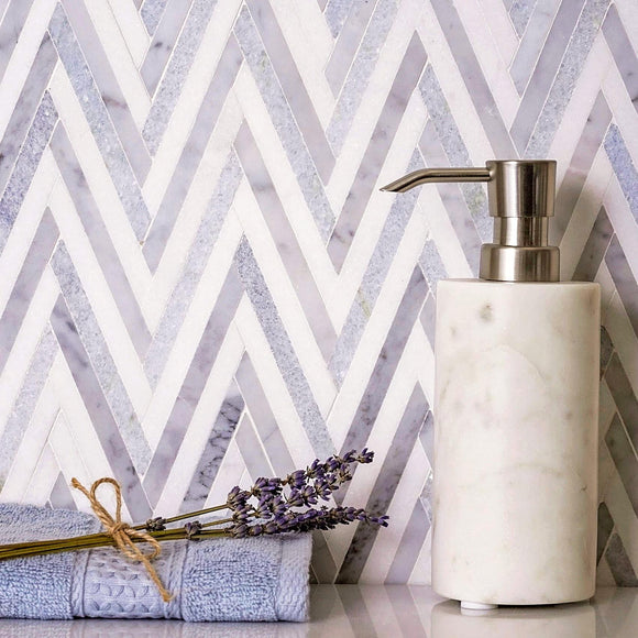 Azul Cielo Thassos And Carrara Striped Chevron Mosaic Tile
