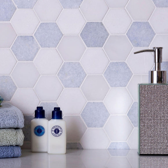 2 inch hexagon marble tile