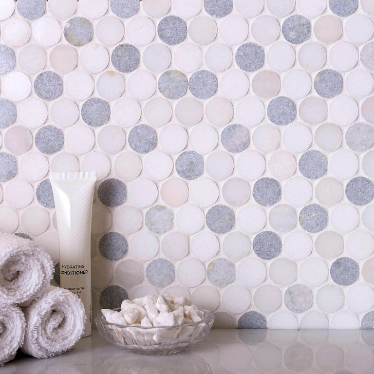"Azul Cielo Thassos And Paper White Penny Rounds Marble Mosaic Tile Polished 11.2"" x 11.5"""