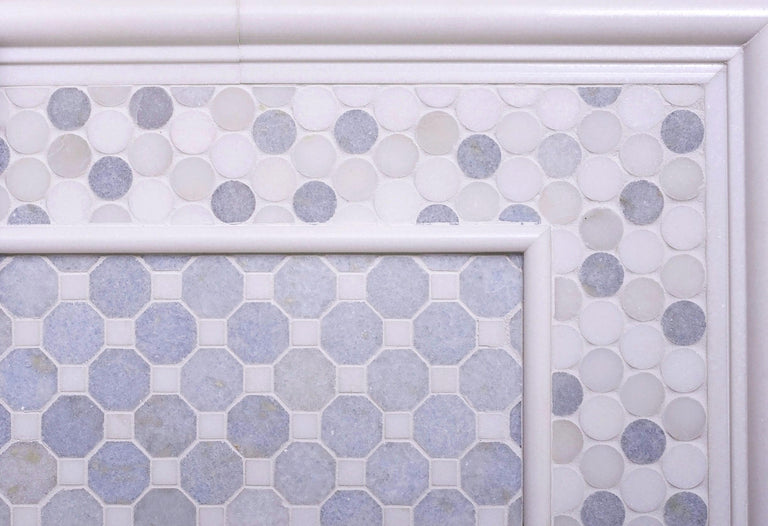Azul Cielo Thassos And Paper White Penny Rounds Marble Mosaic Tile Polished