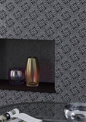 "9.4"" x 9.4"" Babylon Nero Cross Etched Mosaic Tile 