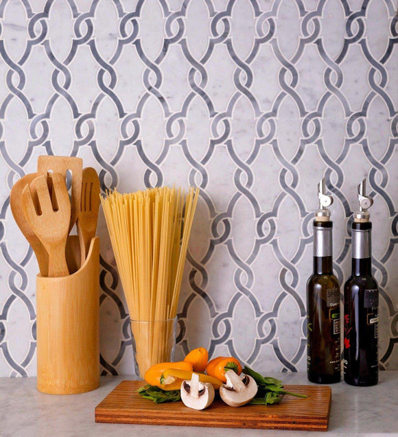 Bardiglio Chains Marble Mosaic Tile for a Festive Kitchen Backsplash