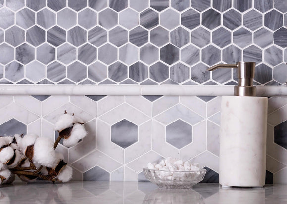 Bardiglio Hexagon Polished Marble Mosaic Tile Position: 1