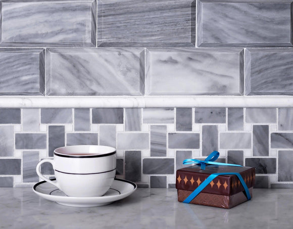 Bardiglio With White Carrara Dots Basket Weave Marble Mosaic Tile Position: 1