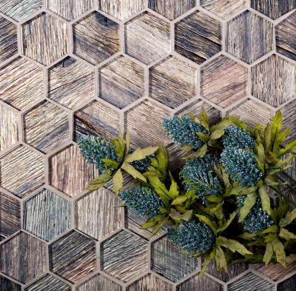 Blue Wooden Glass Hexagon Mosaic Tile