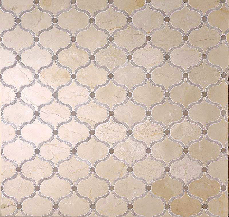 "11.8"" x 11.8"" Crema Marfil Arabesque Tile With Dots for Living Room"