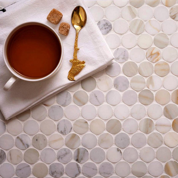 Calacatta Gold Penny Tile with a Honed Finish