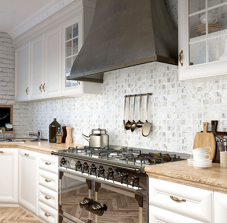 French Inspired Marble Kitchen with a Calacatta Basket Weave Backsplash