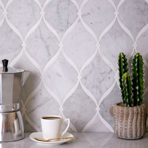 Carrara Chic With Thassos Dots Marble Mosaic Tile