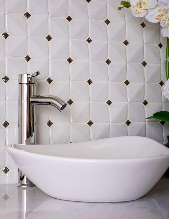 Chateau White Square Ceramic Mosaic Tile Position: 1
