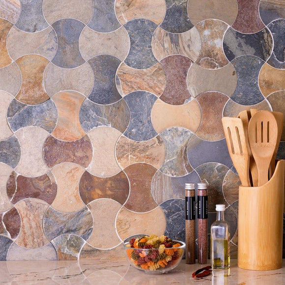 slate mosaic tile backsplash
