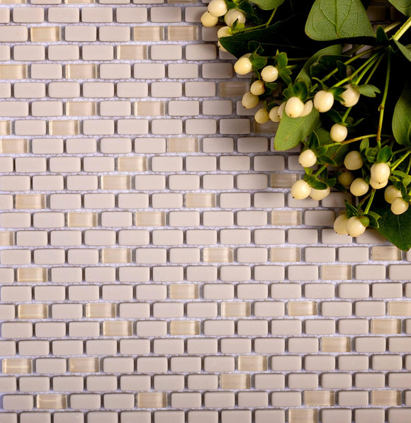 Cream Recycled Glass Brick Mosaic Tile