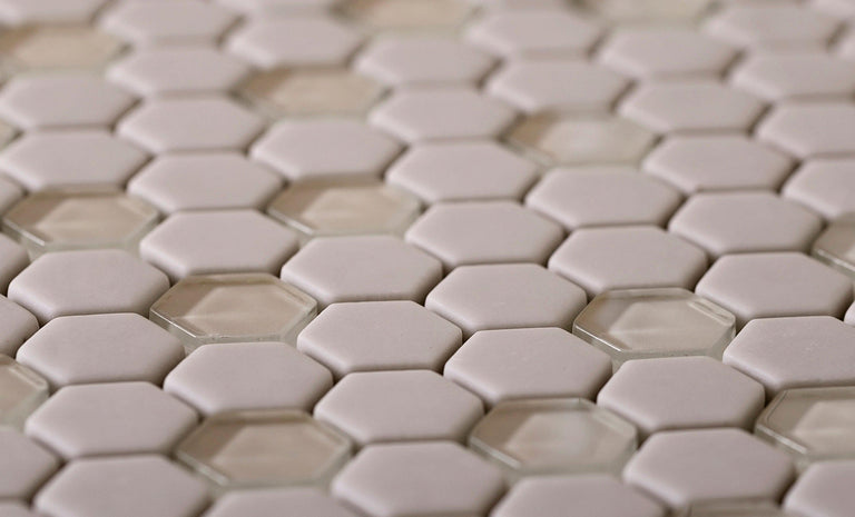 Cream Recycled Glass Hexagon Mosaic Tile