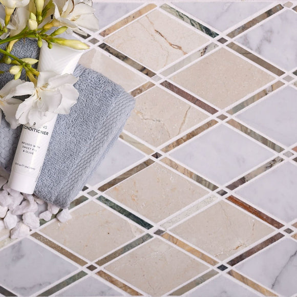 Crema Marfil And Carrara Diamond Marble Mosaic Tile