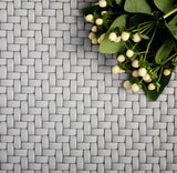 Dark Grey Recycled Glass Basket Weave Mosaic Tile