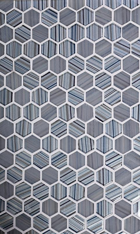 Blue grey hexagon tile
