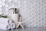 FABRIQUE WHITE HEXAGON GLASS MOSAIC TILE for backsplash