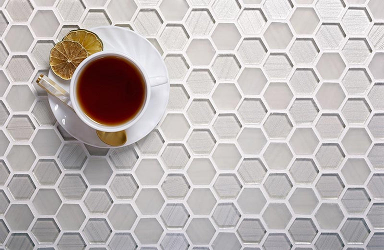FABRIQUE WHITE HEXAGON GLASS MOSAIC TILE