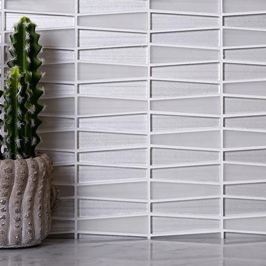 White triangle glass mosaic tile