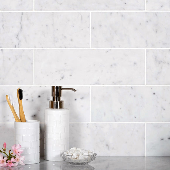 Bianco Carrara 4X12 Polished Marble Tile Subway Bathroom Wall
