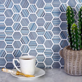 Fabrique Blue Grey Hexagon Glass Mosaic Tile