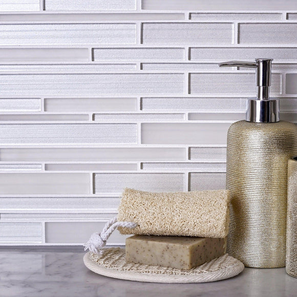 Fabrique White Linear Glass Mosaic Tile