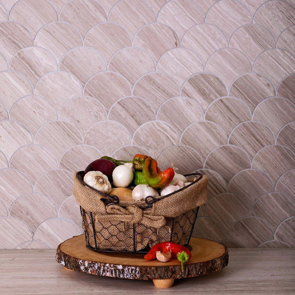 Fan Wooden Beige Marble Mosaic Tile