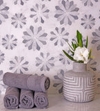 Floral Eternity White Carrara & Bardiglio Waterjet Mosaic Tile