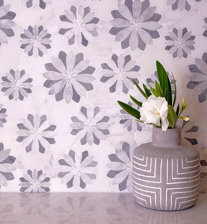 "12"" x 12"" Floral Eternity White Carrara Waterjet Mosaic Tile"