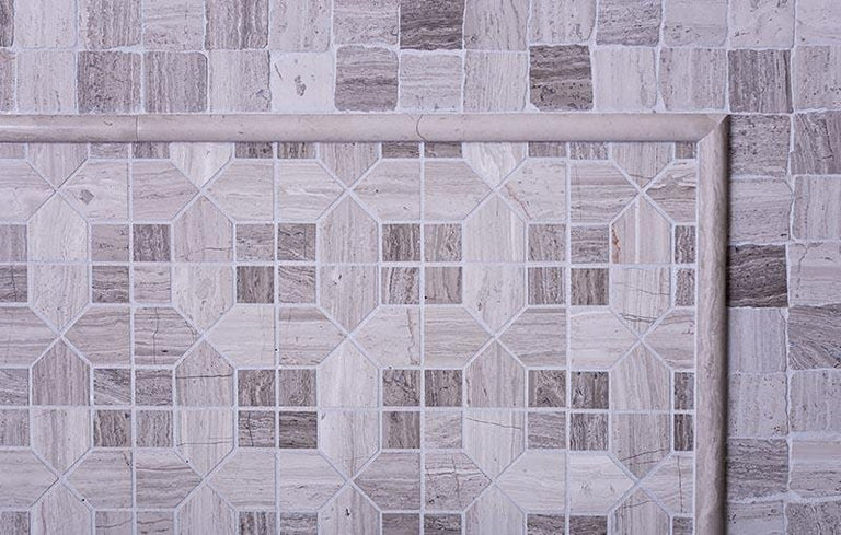 Geo Hexagon Wooden Beige Marble Mosaic Tile