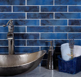 Stardust Blue 2X8 Glass Mosaic Tile