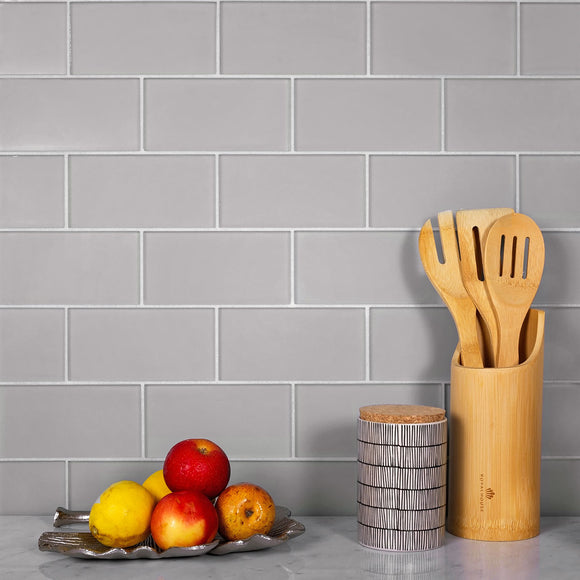 Neutral Kitchen with Glacier Aura Gray 1X1 Frosted Glass Subway Tile Backsplash