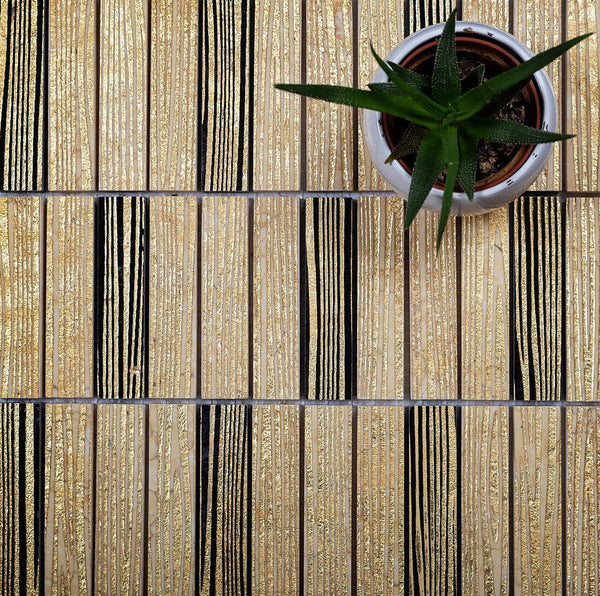 Gold Macao Bricks Etched Mosaic Tile