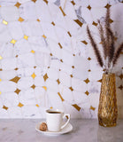 Golden Stars Calacatta Gold And Brass Mosaic Tile