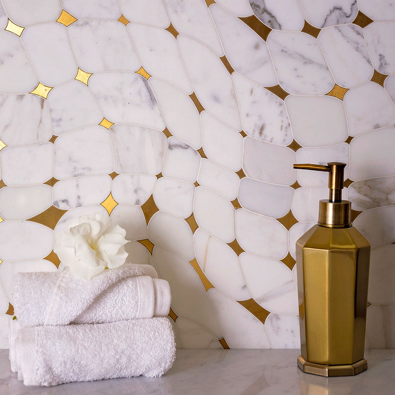 white and gold tile