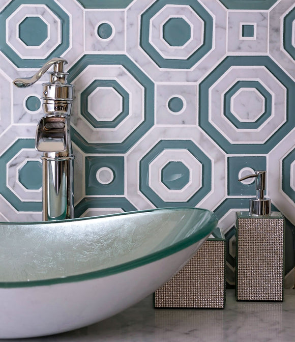 Green Hex And Square Carrara & Glass Waterjet Tile