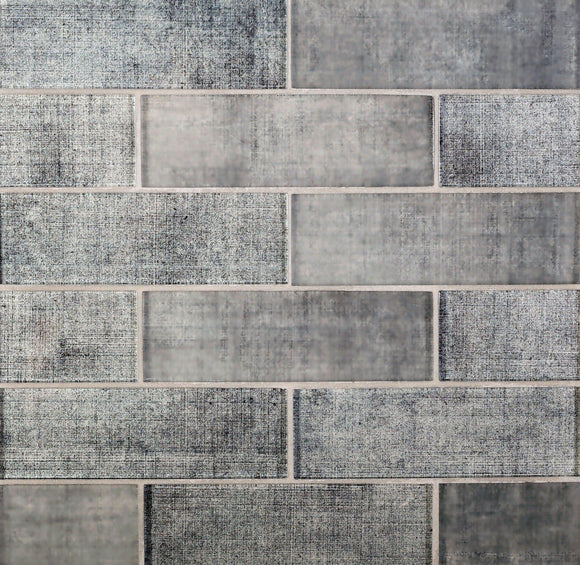 Grey Fabric Glass Subway Mosaic Tile
