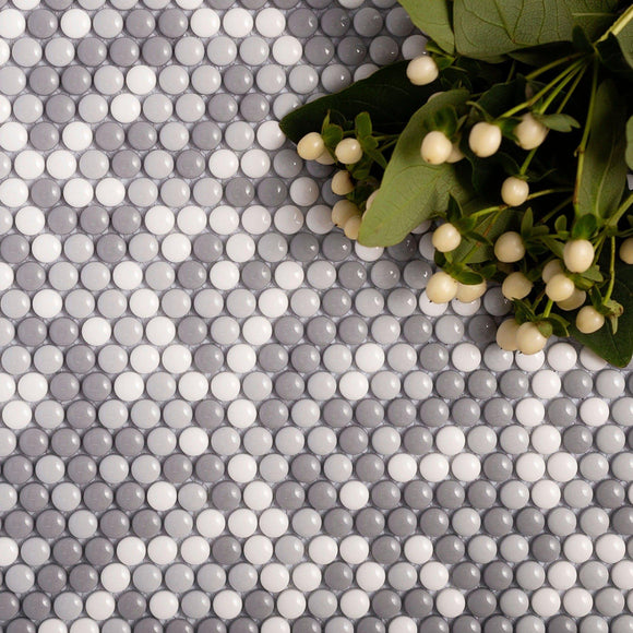 grey penny round tile