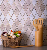 Harper Diamond Wooden Beige And Carrara Marble Mosaic Tile