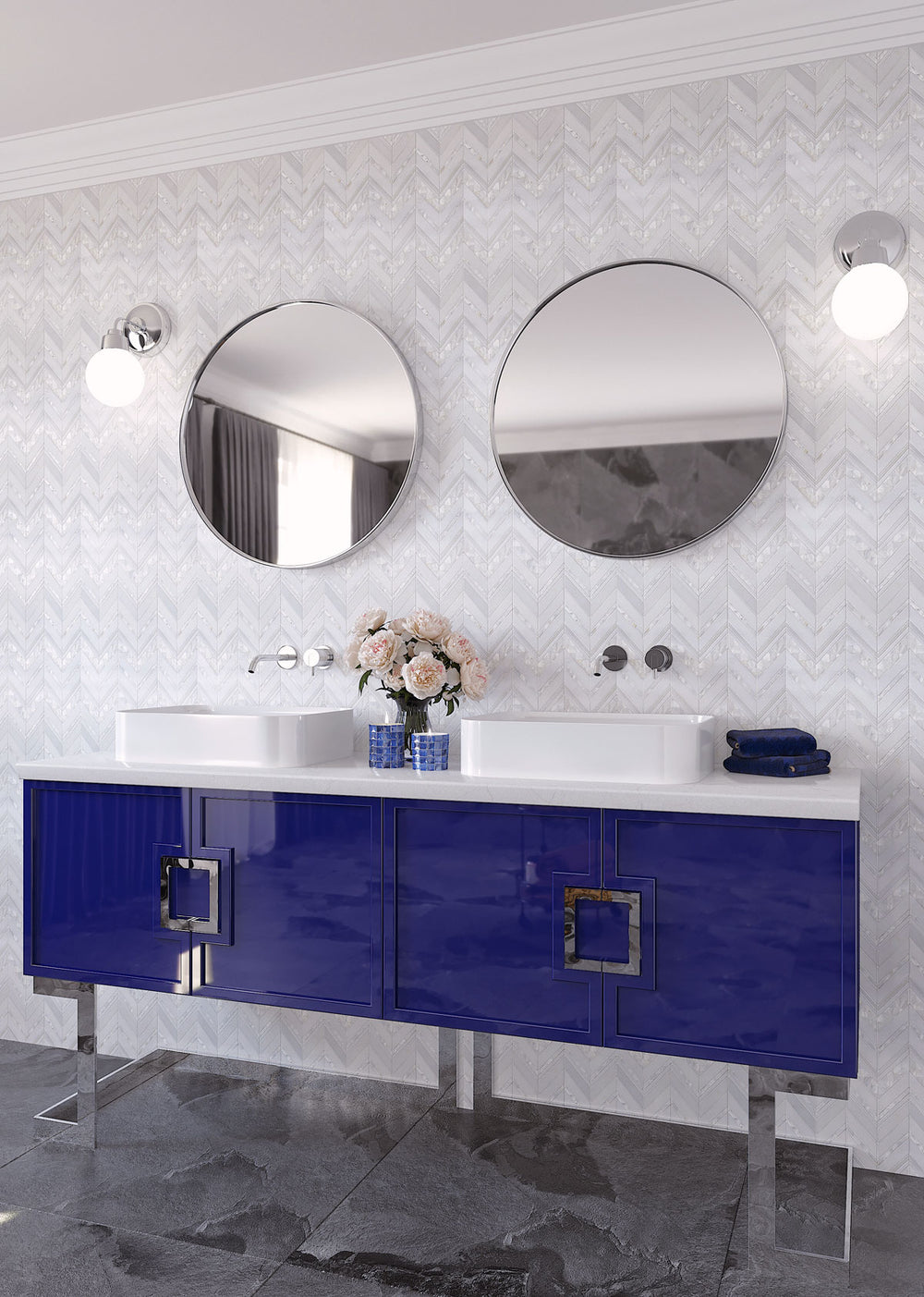 Blue and white bathroom with Mother of Pearl inlay chevron tile backsplash