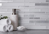 Ice White Linear Glass Mosaic Tile