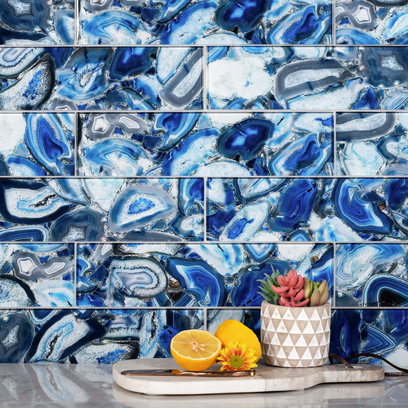 Vibrant Blue Gemstone Agate Glass Tile Backsplash with Fresh Fruit and Succulents